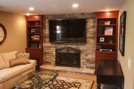 fashioned living room custom stone fireplace