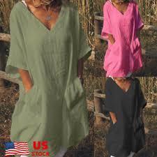 <b>Plus Size S</b>-<b>5XL</b> Womens Oversize Shirt Cotton Linen Loose V Neck ...