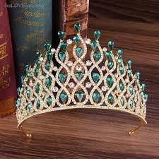 Large Golden <b>Crystal Crown Queen</b> Tiaras <b>Headdress</b> Wedding ...