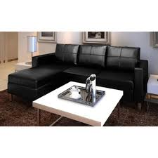 vidaXL Sectional <b>3 Seater</b> Black <b>Artificial Leather Sofa</b> | Bunnings ...