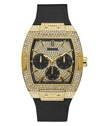 Gold Tone Case Black <b>Genuine leather</b>/<b>Silicone</b> Watch - GUESS ...
