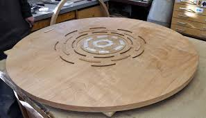 dining table woodworkers: you can see the apron in the background of this photo early in the finish process its eight pieces of a circle cut from   and joined with festool