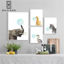 Animal Posters Chewing Gum Elephant Zebra <b>Bubble Nordic Style</b> ...