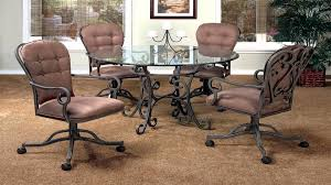 Dining Room Chairs With Arms And Casters Dining Chair Casters Mission Dining Side Chair With Casters