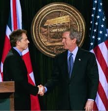 nativism protectionism and isolationism are not the way forward president george w bush and british prime minister tony blair shake hands after they conclude