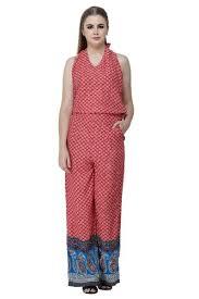 Denimes Red & Blue <b>100</b>% <b>Viscose Floral Print</b> V Neck Sleeveless ...