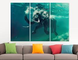 Swimming Elephant Canvas Print Underwater <b>Abstract</b> Wall Art ...
