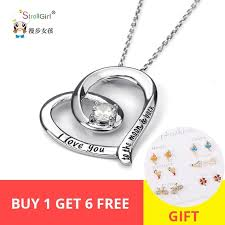 <b>StrollGirl 100</b>%<b>925</b> sterling silver love heart chain pendant necklace ...