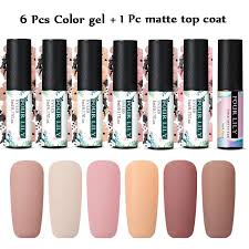 <b>7pcs</b>/<b>set Color Gel Nail</b> Polish Matte Top Coat Soak Off Nail Art Gel ...