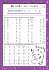 The Simplest Form of Fractions - Math Practice Worksheet (Grade 5 ...The Simplest Form of Fractions