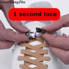 <b>1Pair New Elastic</b> Cross buckle ShoeLaces 1 Second Quick No Tie ...
