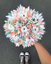 Pink and Tiffany Dried Flowers Bouquet Нежный букет из ...
