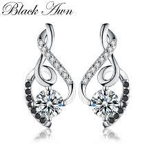 [<b>BLACK AWN</b>] <b>Genuine 925</b> Sterling Silver Female Earring Fine ...