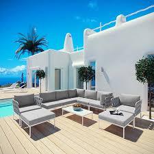 Modway Furniture <b>Harmony 10 Piece</b> Outdoor Patio Aluminum ...