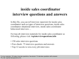 Interview questions and answers     free download  pdf and ppt file inside sales coordinator interview SlideShare