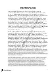 Man and Nature Essay   Year    HSC   English  Advanced    Thinkswap Thinkswap Man and Nature Essay