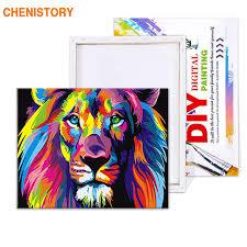 Frameless Colorful Lion Animals <b>Abstract</b> Painting <b>Diy</b> Digital ...