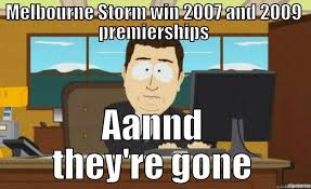 Melbourne Storm stripped of Premierships - quickmeme via Relatably.com