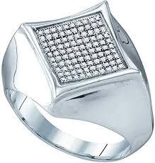 GemApex Mens <b>Diamond Fashion</b> Ring Sterling <b>Silver Square</b> ...