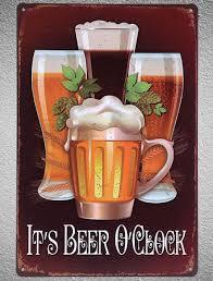 <b>1 pc Bar</b> Its <b>beer</b> O'clock Drinks cocktail art Tin Plate Signs wall man ...