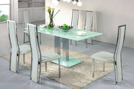 magnificent modern dining room interior design with rectangular frosted glass table chromed base contemporary designer furniture blue glass top modern office