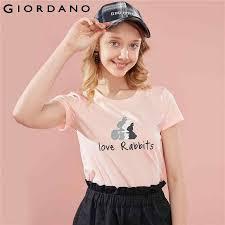 Giordano <b>Women T Shirt</b> Short Sleeve Graphic <b>Tshirt Lovely</b> Animal ...