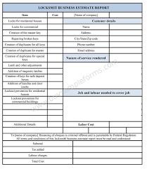 locksmith business estimate form buy sample forms online locksmith business estimate form