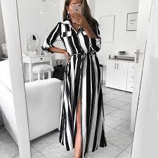 Stripe Maxi <b>Dress</b> 2019 <b>Office Lady</b> Turn Down Collar Button Long ...
