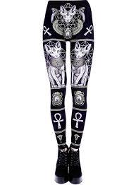 Tiberio Dark Side Egyptian Sphynx <b>Cat</b> Print <b>Black</b> Occult Leggings ...