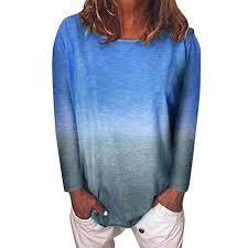 Looka33 Women Blouse <b>Fashion</b> Casual <b>Gradient Color</b> Long ...