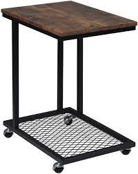 <b>Side table</b> with wheels made of MDF & <b>vintage</b> metal | Woltu.eu