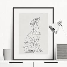 Dog Minimal Wall <b>Art Canvas Painting Minimalist Animal</b> Poster ...