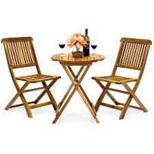 Best Choice Products Acacia Wood <b>3</b>-<b>Piece Folding</b> Outdoor Bistro ...