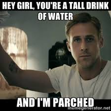 Hey girl, you're a tall drink of water And I'm parched - ryan ... via Relatably.com