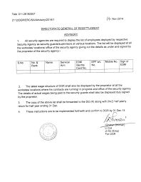 directorate general resettlement payment of wages by security agencies middot display list of employees