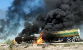 Image result for نفتکشهای داعش  به آتش کشیدند