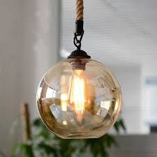 Loft <b>Vintage retro</b> Industrial Glass Ball <b>Hemp rope Pendant</b> Lights ...