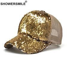 <b>SHOWERSMILE Gold Baseball Cap</b> Sequins Women Trucker Hat ...