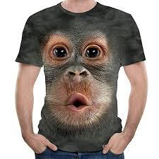Dowager <b>Summer Men's</b> Monkey 3D Print Top <b>T</b>-<b>Shirt Fashion</b> Short ...