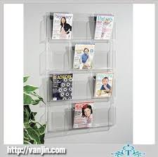 magazine rack wall mount: wall mounted crystal chessboard shaped acrylic magazine holder