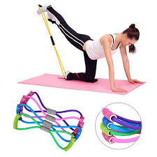 New Yoga Gym Fitness Resistance <b>8 Word Chest Expander</b> Rubber ...