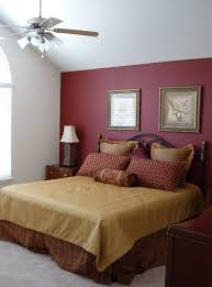 room paint red: large master bedroom with red accent wall paint