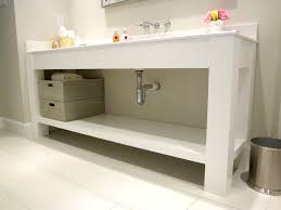open bathroom vanity cabinet: jared meadors custom cabinets houston bath vanity console open contemporary painted white kristin bustamante