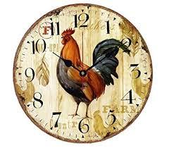 VieVogue <b>Retro Wooden Wall Clock</b>, Large Vintage Rustic Colorful ...