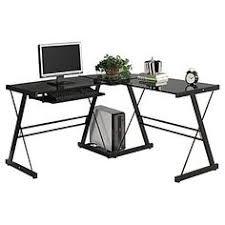 home loft concept corner computer desk black black glass black glass top corner