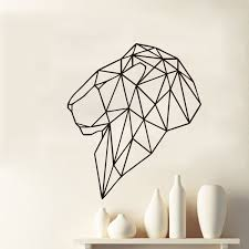 fashion geometric lion head wall decal cool animals vinyl home decor for living room diy stickers vogue poster syy81