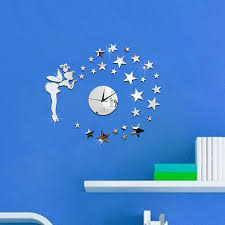 small bathroom clock: diy d wall clock gold silver new acrylic girl star mirror sticker wall clock decal