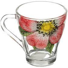 <b>Кружка стеклянная Живая природа</b> Китайская роза 1649-Д, 250 мл