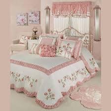 Blush Rose Embroidered Floral Oversized Bedspread Bedding ...