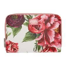 <b>Dolce</b> and <b>Gabbana</b> Pink <b>Peonies</b> Logo Zip Wallet